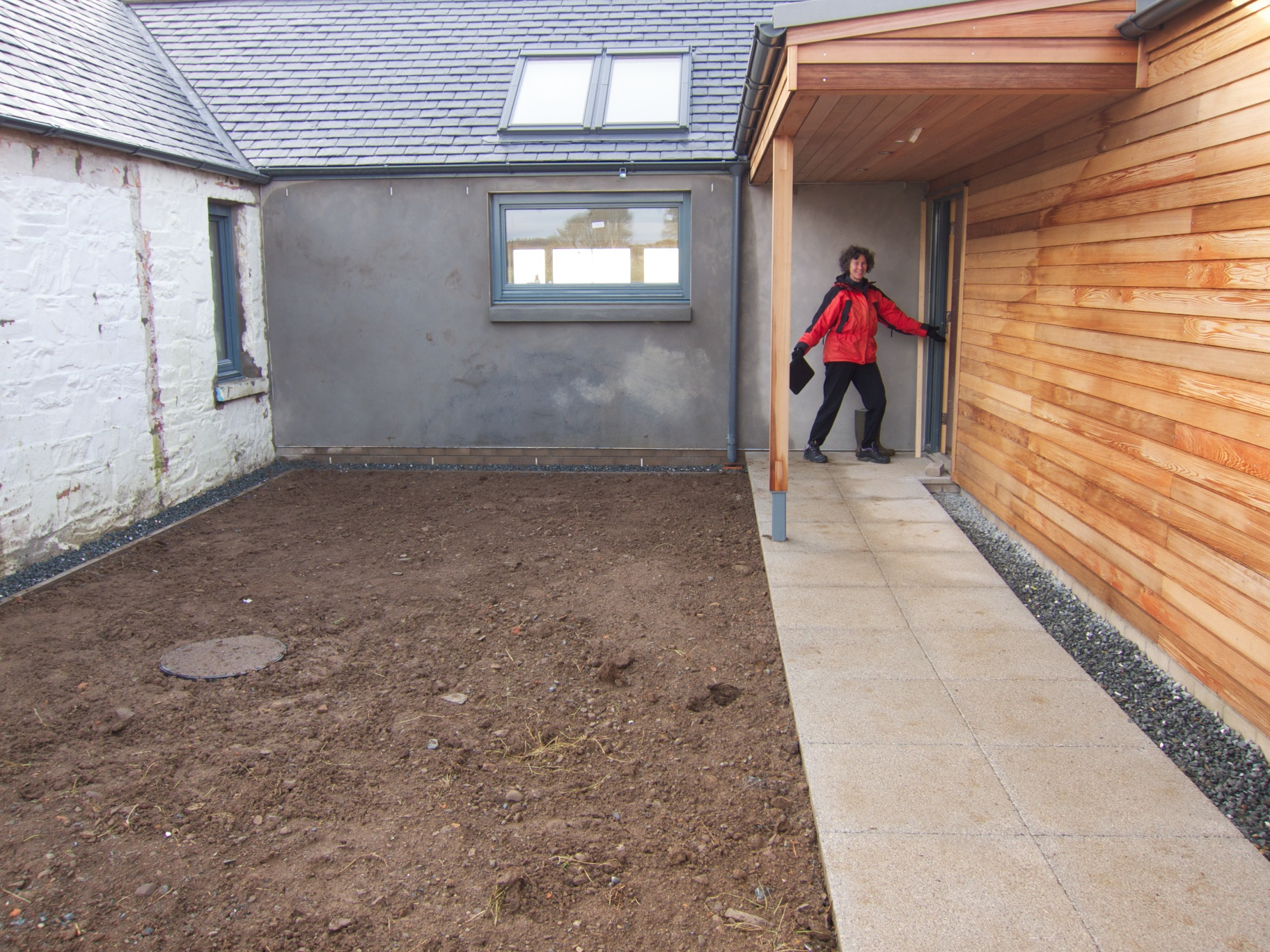 The Paving And Gravel Around The House Has Been Completed. This Is The  Small Courtyard And Path Leading To The Main House Door. We Will Be  Planting Up The ...