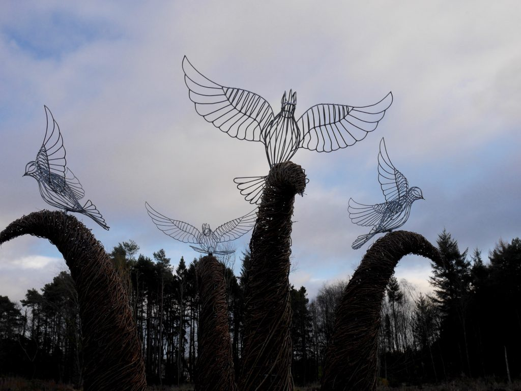 Willow and wire dove sculpture